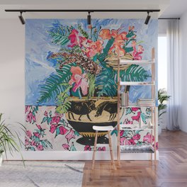 Tropical Banksia Bouquet after Matisse in Greek Boar Urn on Pale Painterly Blue Wall Mural