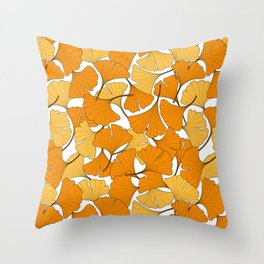 ginkgo leaves (orange) Throw Pillow