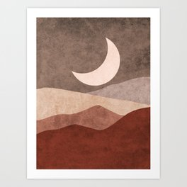 Moon over the mountains - Abstract Minimal Landscape Art Print