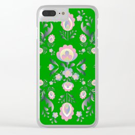Folk Flowers in Green and Pink Clear iPhone Case