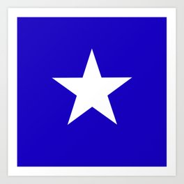 white star on blue background Art Print