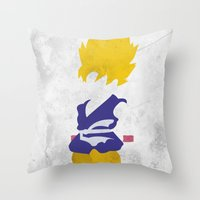 goku Throw Pillows featuring Goku SSJ by JHTY