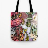 80s Tote Bags featuring 80s dreamscape by Charlie L'amour