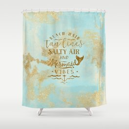 Beach - Mermaid - Mermaid Vibes - Gold glitter lettering on teal glittering background Shower Curtain