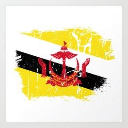 Distressed Brunei Darussalam Flag Graffiti Art Print