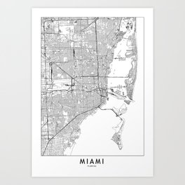 Miami White Map Art Print