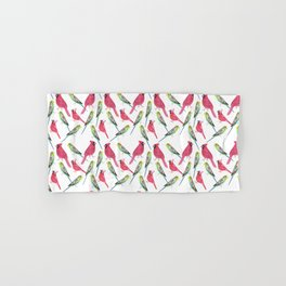 Birds in complementary color scheme- Budgies and cardinals Hand & Bath Towel