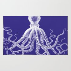 Octopus | Navy Blue and White Rug
