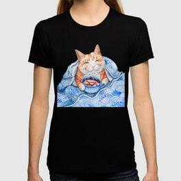 Happy Cat Drinking Hot Chocolate T-shirt