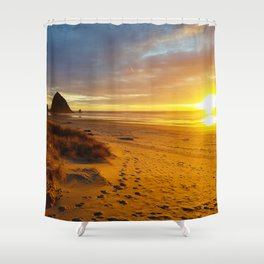 Cannon Beach Oregon at Sunset Haystack Rock Shower Curtain
