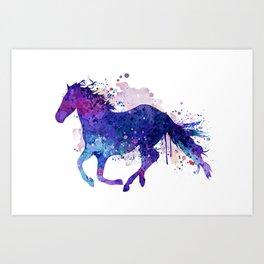 Running Horse Watercolor Silhouette Kunstdrucke