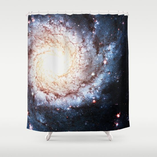 Colorful Cosmos Spiral Shower Curtain By Spooky Dooky