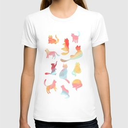 Cat Silhouette Collage with Rainbow Colours T-Shirt