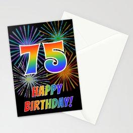 "75th Birthday ""75"" & ""HAPPY BIRTHDAY!"" w/ Rainbow Spectrum Colors + Fun Fireworks Inspired Pattern Stationery Cards"