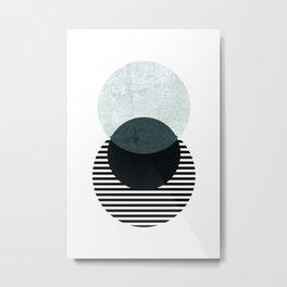 Blue, Black & Striped Circles Metal Print