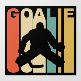 Retro 1970's Style Hockey Goalie Silhouette Sports Canvas Print