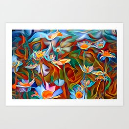 Psychedelic Daises Art Print