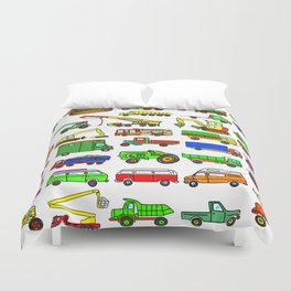 Doodle Trucks Vans and Vehicles Duvet Cover