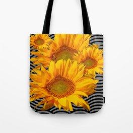 YELLOW SUNFLOWERS BLACK-GREY WAVE ART Tote Bag