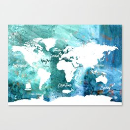 World map water Canvas Print