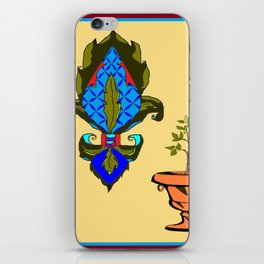Fleur de Lis in blues and terra cotta urn iPhone Skin