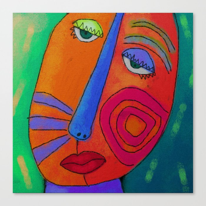 Colorful Abstract Face Digital Painting Canvas Print By Jackieludtke