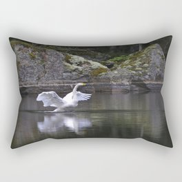 Welcome Spring White Swan On A Dark Nature Background Rectangular Pillow