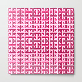 Hot Pink and White Greek Key Pattern Metal Print