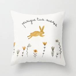 bunny dreams Throw Pillow