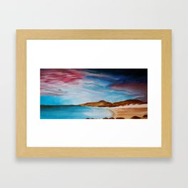 turquoise and pink Framed Art Print