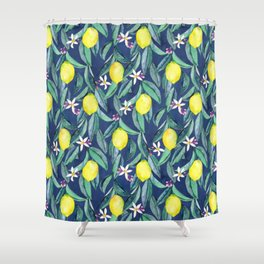 When Life Gives You Lemons - blue Shower Curtain