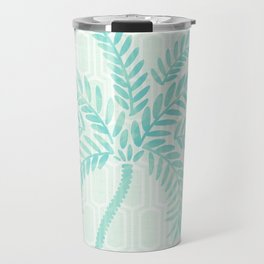 Mint Tropical Palm / Watercolor Collage Travel Mug