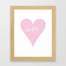 Besos Pink Heart Framed Art Print