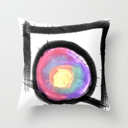 Round Peg in a Square Circle Abstract Digital Painting Throw Pillow