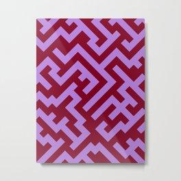 Lavender Violet and Burgundy Red Diagonal Labyrinth Metal Print