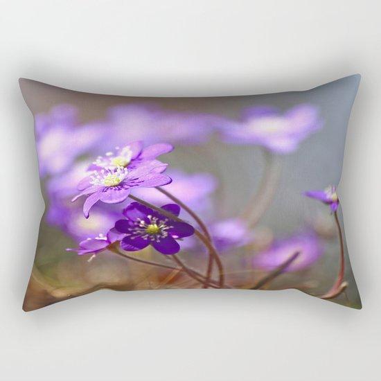 Hepatica In Spring Forest  Rectangular Pillow