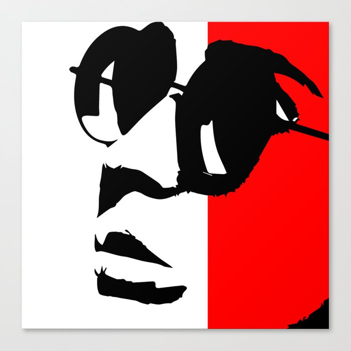 Contemporary Hipster Black White Red Vector Pop Art Canvas Print