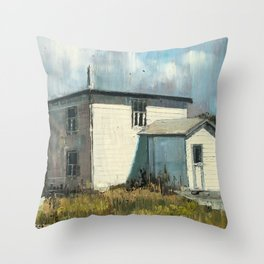 landscape with house Throw Pillow
