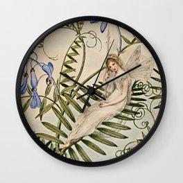 """Fairy Resting Among Flowers"" by Amelia Jane Murray Wall Clock"