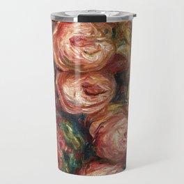 """Auguste Renoir """"Composition aux roses et à la tasse de thé (Composition with roses ...)"""" Travel Mug"""