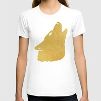 gold foil T-shirts featuring Gold Foil Wolf by Mod Pop Deco