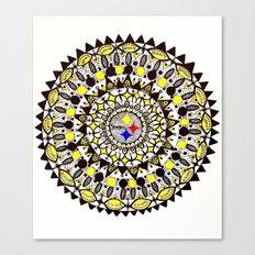 Football Gold and Black Mandala Canvas Print