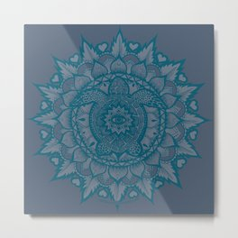 Turtle Mandala by Julie Oakes Metal Print
