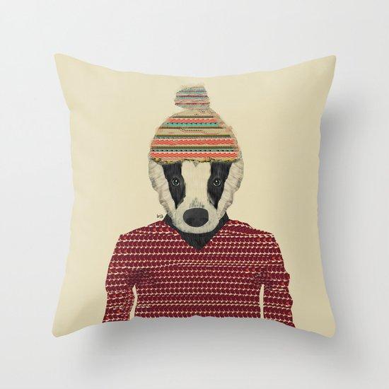 seb the badger  Throw Pillow