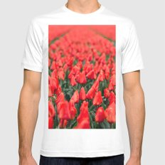 Red Tulips MEDIUM Mens Fitted Tee White