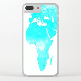 world MAp Aqua Blue Clear iPhone Case