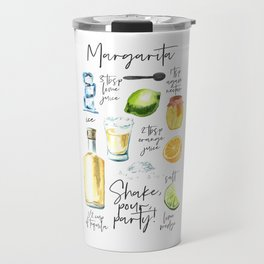 Margarita Recipe Watercolor Illustration Travel Mug