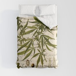 Marijuana Cannabis Botanical on Antique Journal Page Comforters