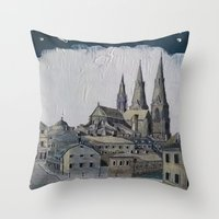 sweden Throw Pillows featuring Uppsala Sweden by Alejandro D