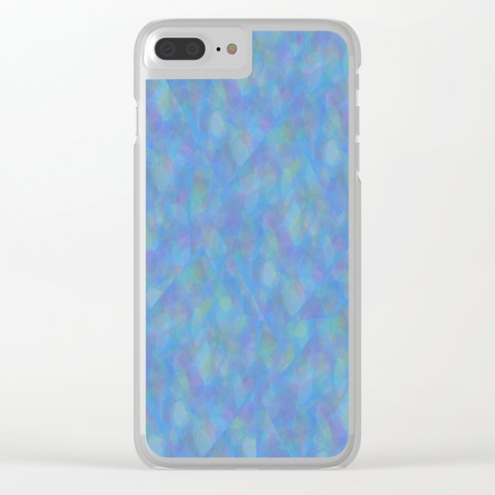 Soft Blue Cubism Abstract Clear iPhone Case